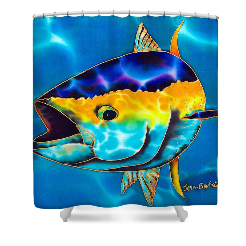 Jean-baptiste Design Shower Curtain featuring the painting Yellowfin Tuna by Daniel Jean-Baptiste