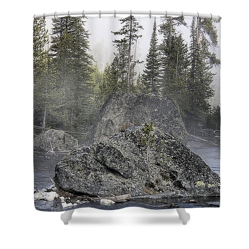 Yellowstone Shower Curtain featuring the photograph Yellowstone - The Rock Tree by Image Takers Photography LLC