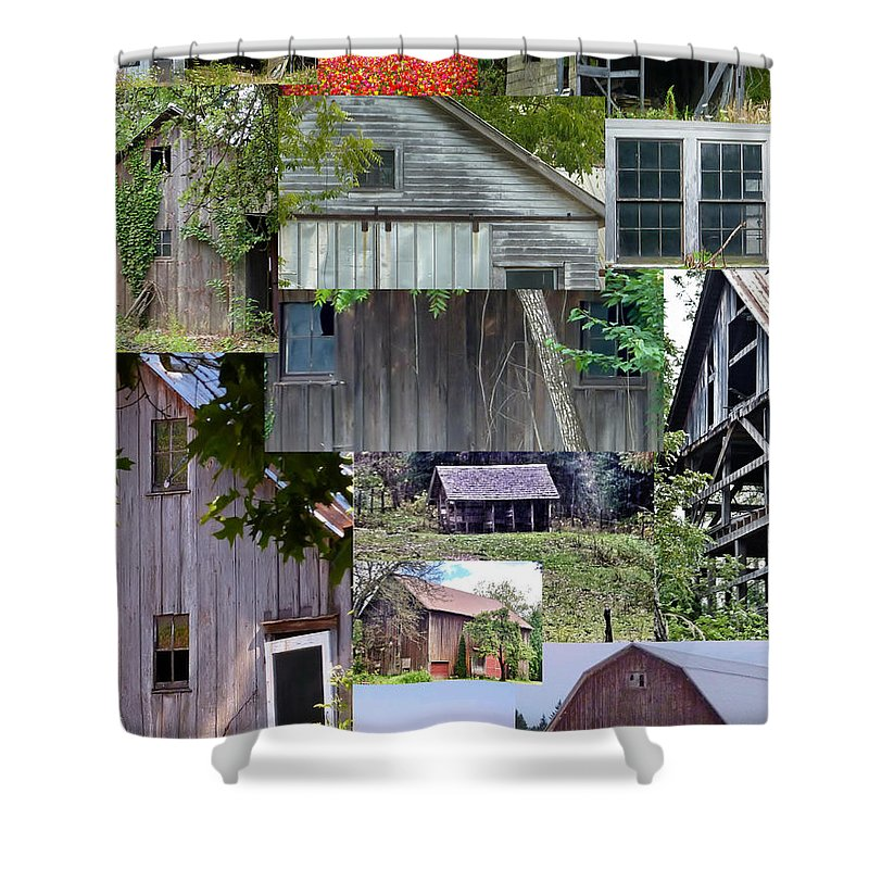 Color Photographs Shower Curtain featuring the photograph Yesterday Barns Collage by Susan Garren