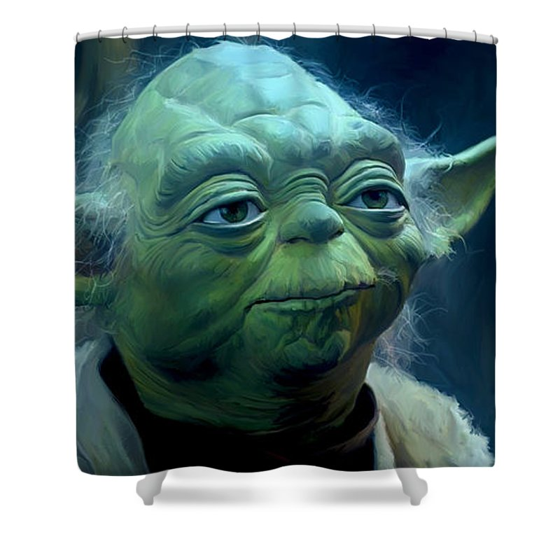 Star Wars Shower Curtain featuring the painting Yoda by Paul Tag