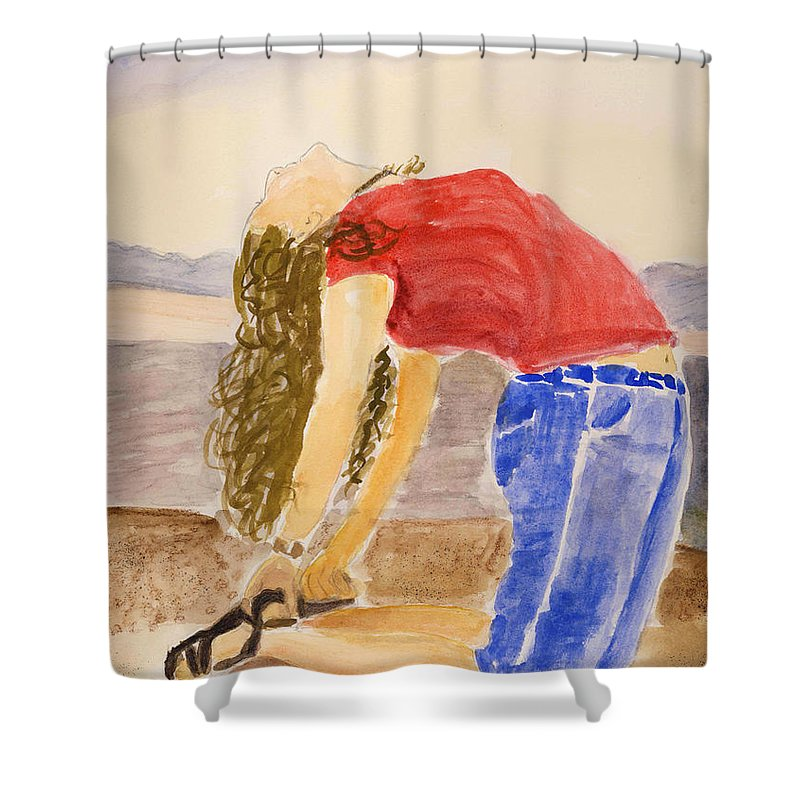 Landscape Shower Curtain featuring the painting Yoga In Utah by Linda Feinberg