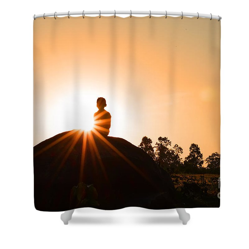 Crepuscular Rays Shower Curtain featuring the photograph Yoga Time by Image World