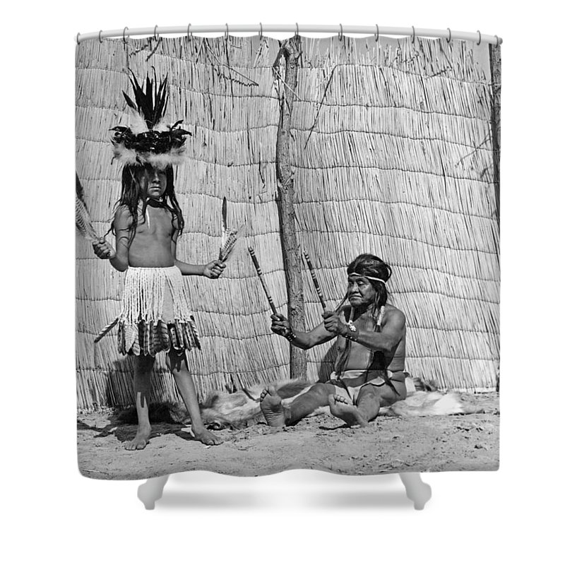 1920s Shower Curtain featuring the photograph Yokut Medicine Man by Underwood Archives Onia