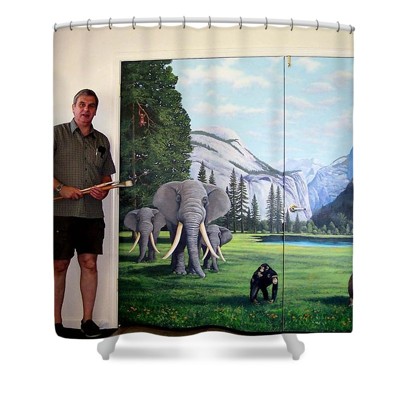 Mural Shower Curtain featuring the painting Yosemite Dreams Mural On Doors by Frank Wilson