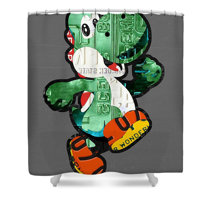 Yoshi Shower Curtain Featuring The Mixed Media From Mario Brothers Nintendo Recycled License Plate Art