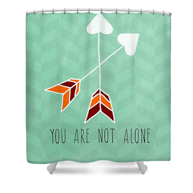 Heart Shower Curtain featuring the painting You Are Not Alone by Linda Woods