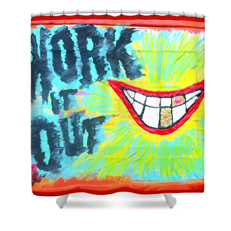 Smile Shower Curtain featuring the painting You Better Work It Out by Lisa Piper