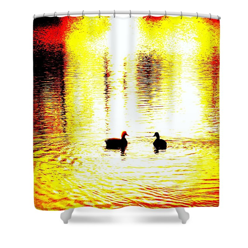 Birds Shower Curtain featuring the photograph You Light Up My Life, We Shall Swim Together Forever  by Hilde Widerberg