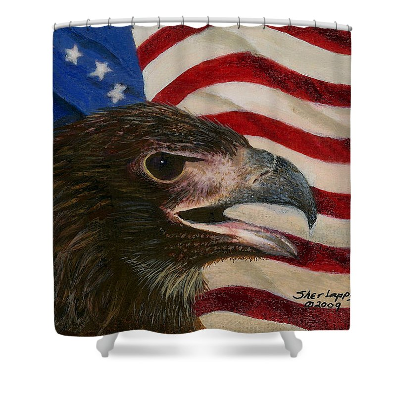 Eagle Shower Curtain featuring the painting Young Americans by Sherryl Lapping