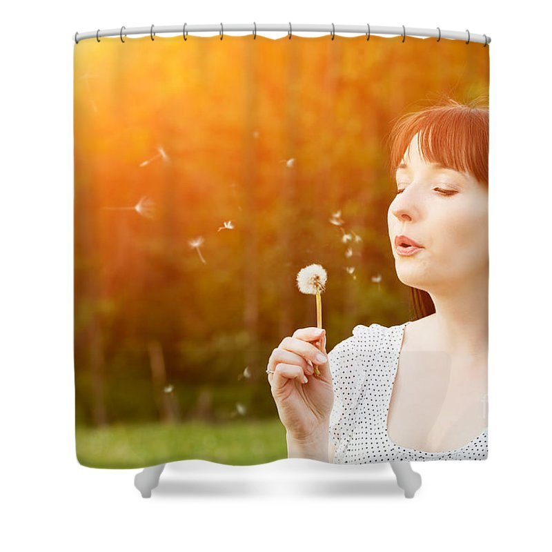 Woman Shower Curtain featuring the photograph Young Beautiful Woman Blowing A Dandelion In Spring Scenery by Michal Bednarek