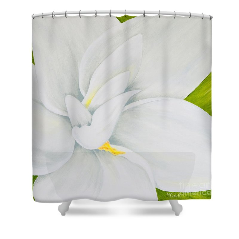 Gardenia Shower Curtain featuring the painting Young Gardenia by Mary Deal