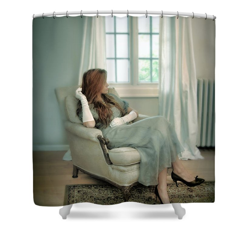 Woman Shower Curtain featuring the photograph Young Woman In A Chair by Jill Battaglia