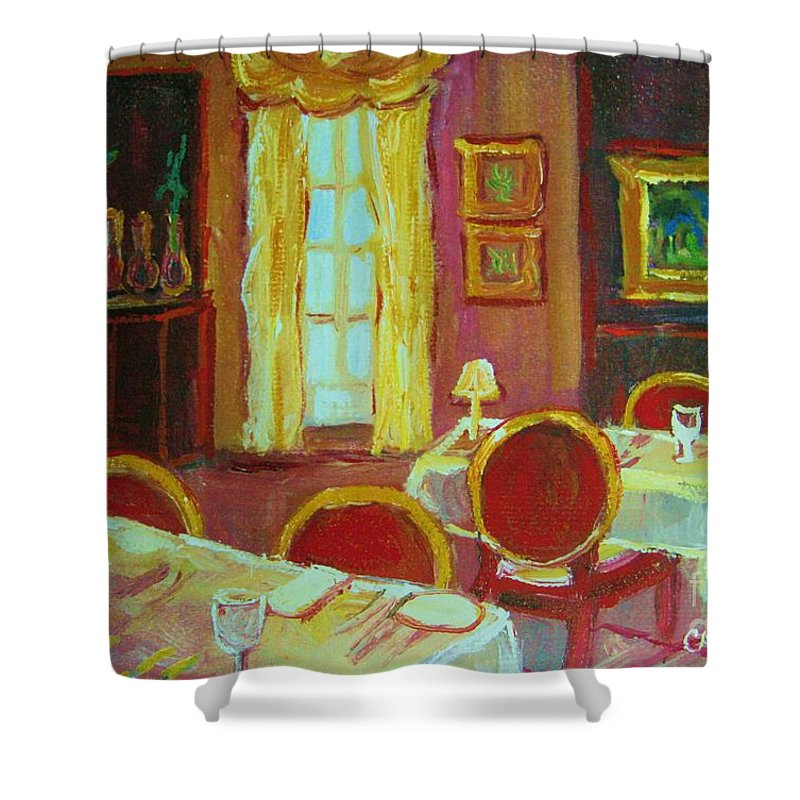 Interior Shower Curtain featuring the painting Your Table Awaits by Carole Spandau