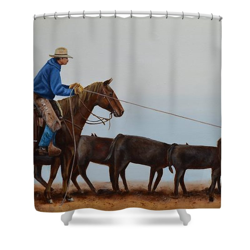 Art Shower Curtain featuring the painting You're Next by Mary Rogers
