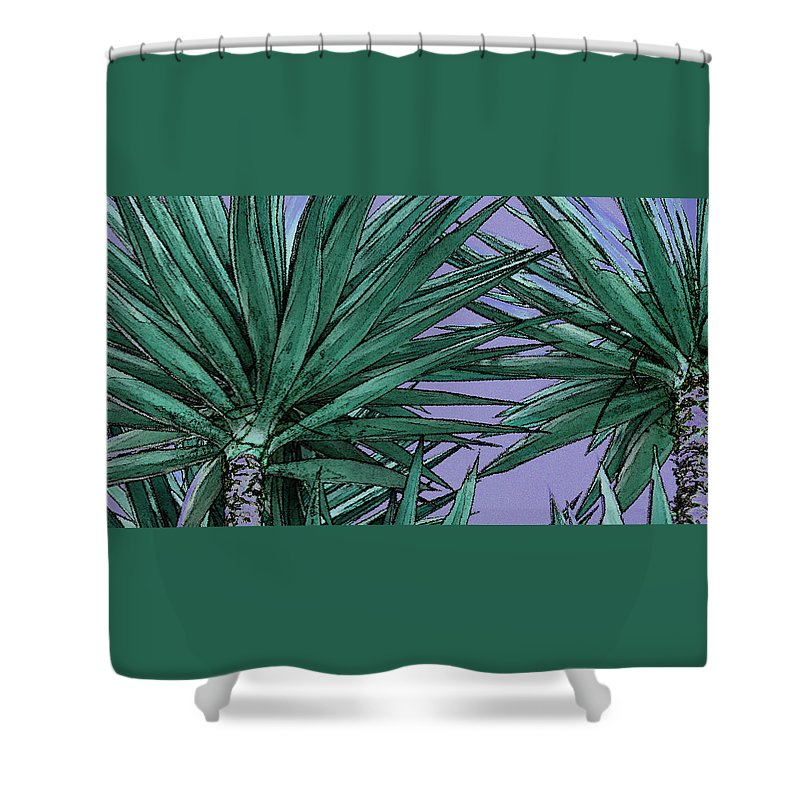 Yucca Tree Tops Shower Curtain featuring the photograph Yucca Tops by Ben and Raisa Gertsberg
