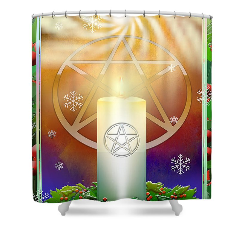 Yule Shower Curtain featuring the digital art Yule Sun by Melissa A Benson