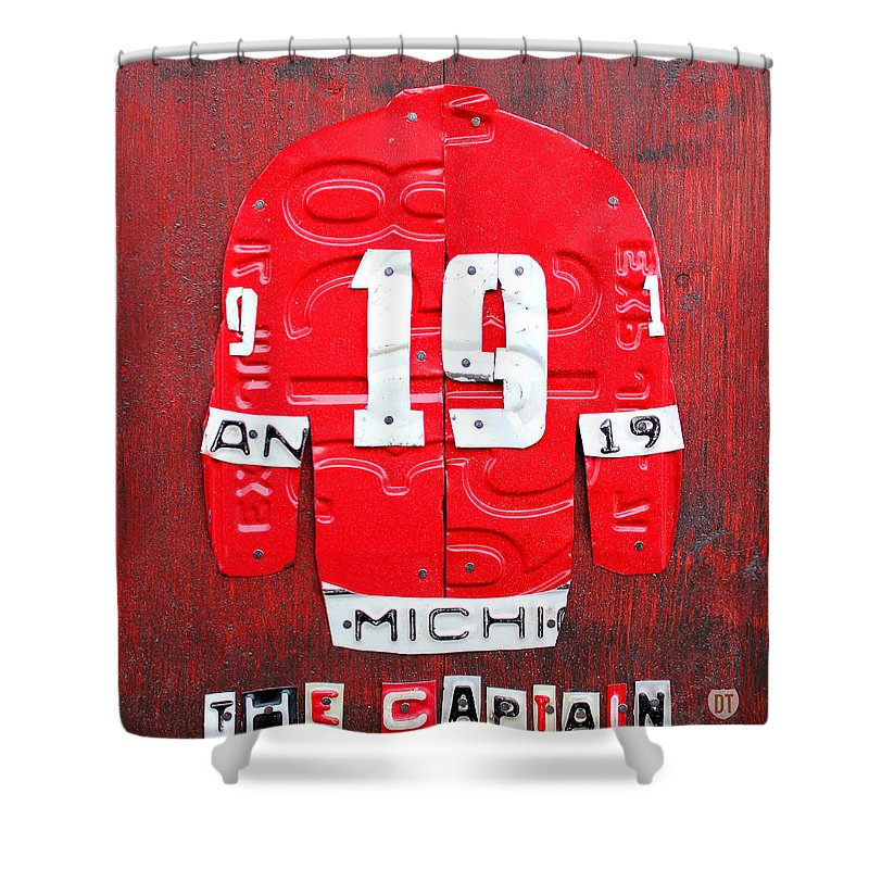 Yzerman The Captain Jersey License Plate Art Red Wings Hockey Nhl Shower Curtain Featuring Mixed