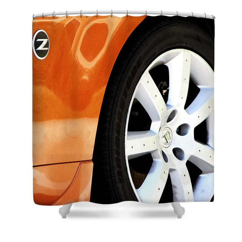 Auto Shower Curtain featuring the photograph Z Emblem Wheel by Jerry Sodorff