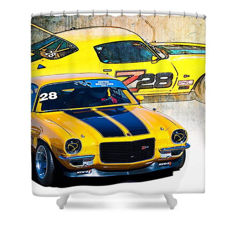 Z28 Shower Curtain featuring the photograph Yellow Z28 Camaro by Stuart Row