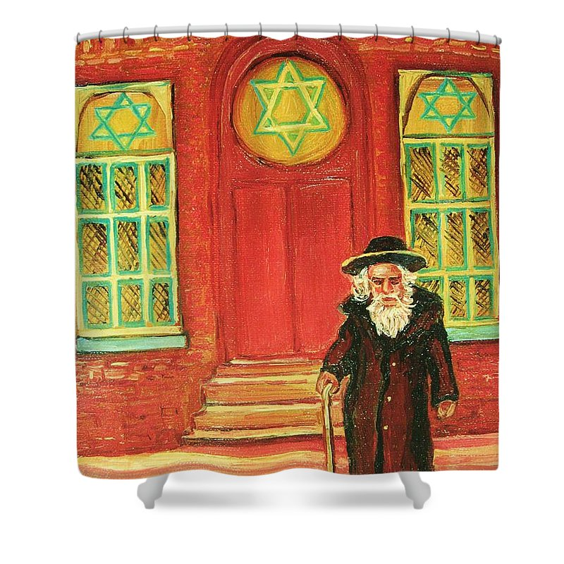 Synagogues Shower Curtain featuring the painting Zaida's Shul by Carole Spandau