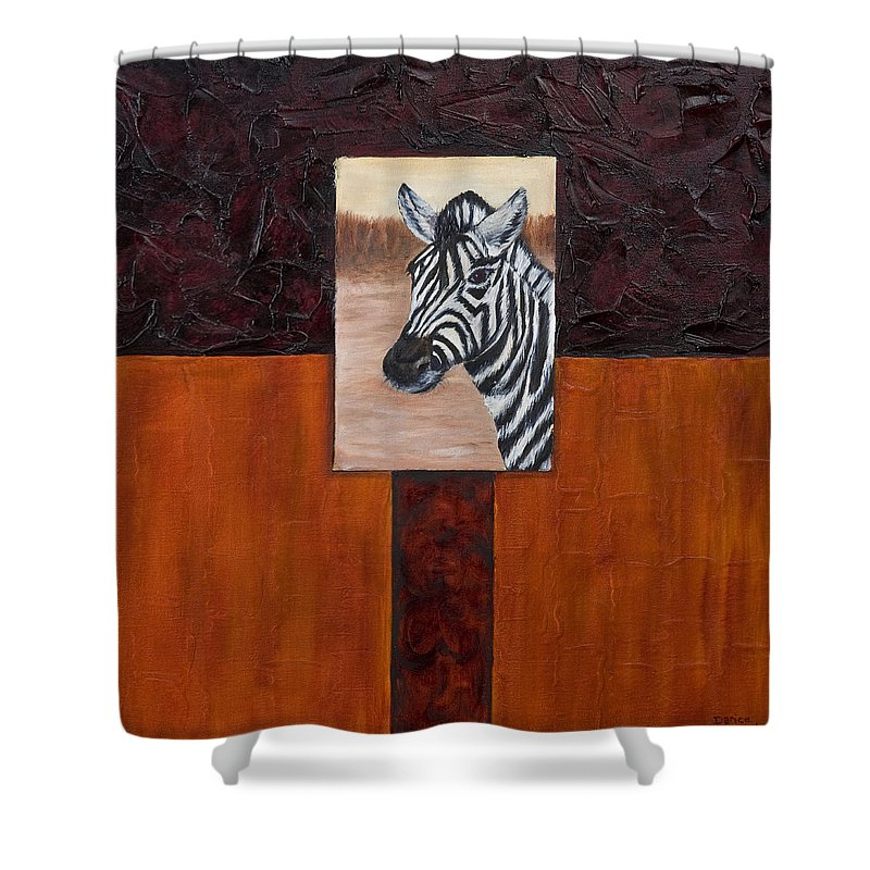 Animal Shower Curtain featuring the painting Zebra by Darice Machel McGuire