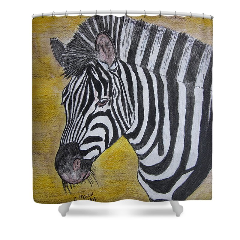 Zebra Shower Curtain featuring the painting Zebra Portrait by Kathy Marrs Chandler