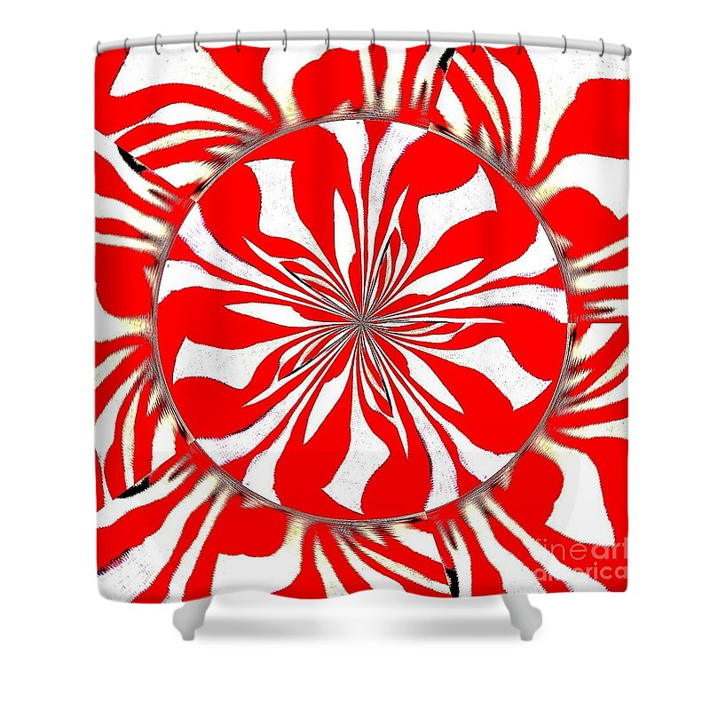 Zebra Shower Curtain featuring the painting Zebra Red Swirling Kaleidoscope by Saundra Myles