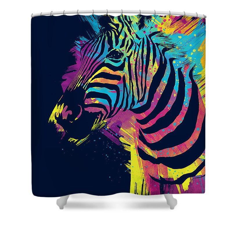 Zebra Shower Curtain featuring the digital art Zebra Splatters by Olga Shvartsur