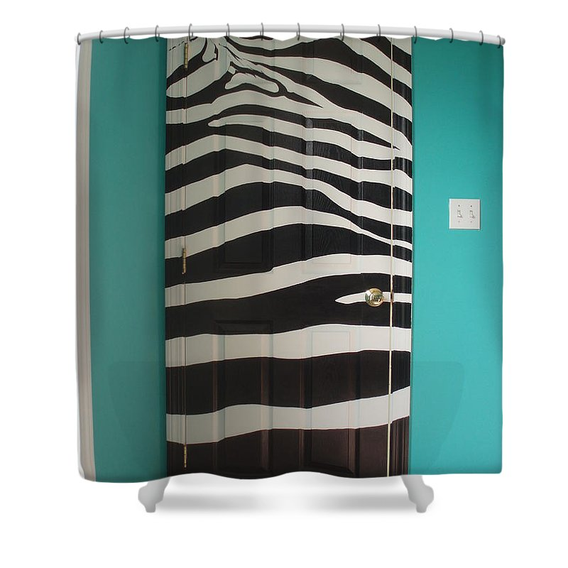 Design;mural; Zebra; Stripes; Wild; Black And White Shower Curtain featuring the painting Zebra Stripe Mural - Door Number 2 by Sean Connolly