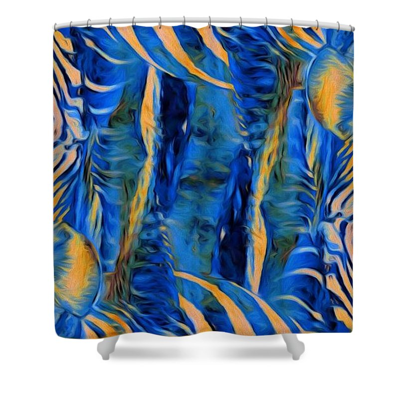 Zebras Shower Curtain featuring the photograph Zebras Abstracted by Alice Gipson