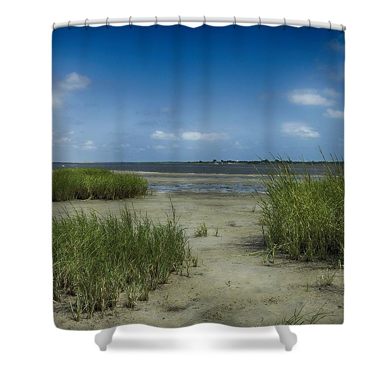 Blue Shower Curtain featuring the photograph Zeke's Island by Seth Solesbee