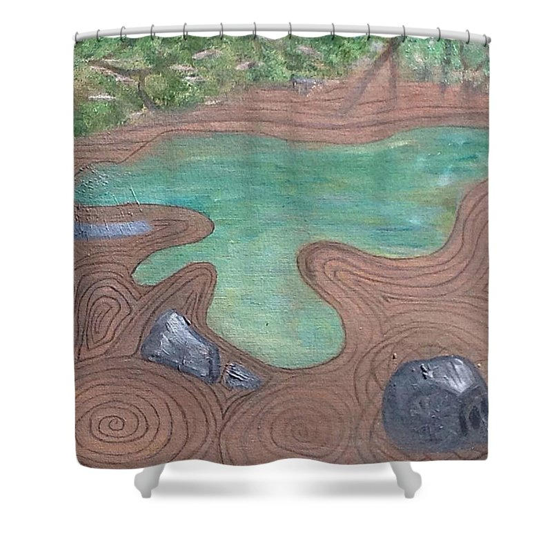 Shapes Shower Curtain featuring the painting Zen Garden by Suzanne Surber
