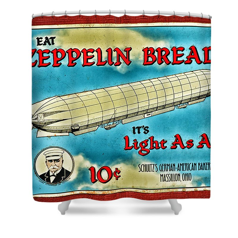 Sign Shower Curtain featuring the photograph Zeppelin Bread by Karol Livote