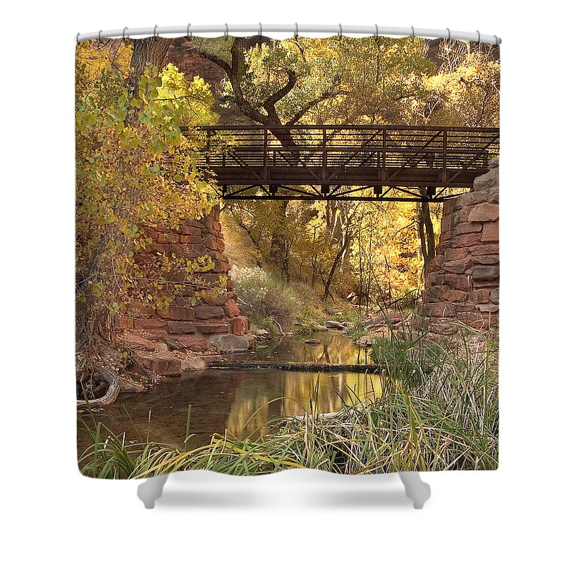 3scape Shower Curtain featuring the photograph Zion Bridge by Adam Romanowicz