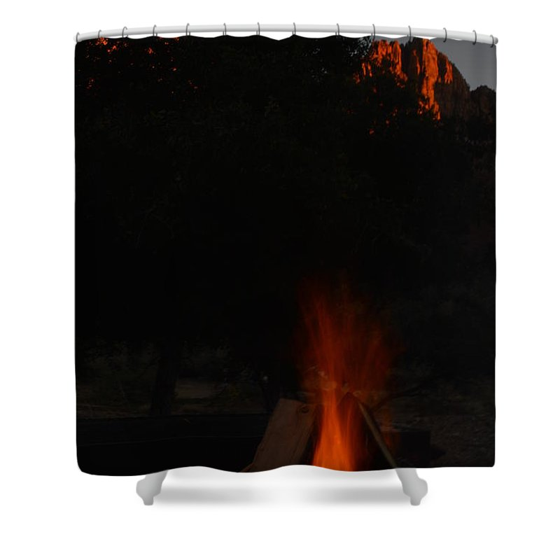 Zion Shower Curtain featuring the photograph Zion By Firelight by Brian Boyle