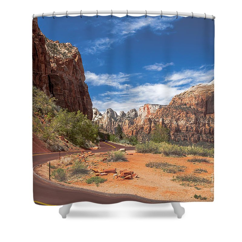 Zion National Parks Shower Curtain featuring the photograph Zion Mount Carmel Highway by Robert Bales