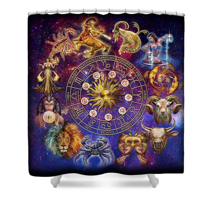 Ciro Marchetti Shower Curtain Featuring The Painting Zodiac Montage By