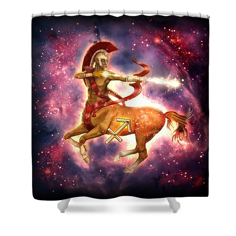 Ciro Marchetti Shower Curtain Featuring The Painting Zodiac Sagittarius By MGL Meiklejohn Graphics Licensing