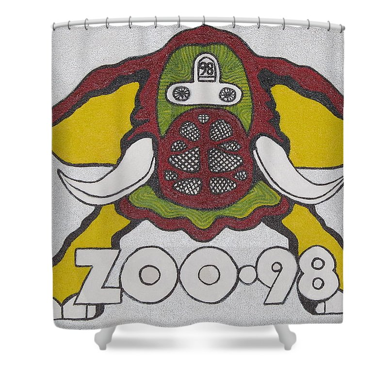 Elephant Pictures Shower Curtain featuring the painting 98 Kzew Radio Logo by Donna Wilson