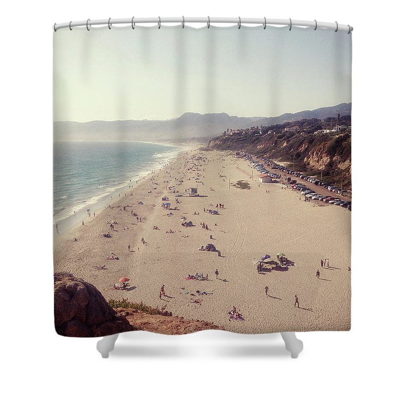 Water's Edge Shower Curtain featuring the photograph Zuma Beach At Sunset Malibu, Ca by William Andrew