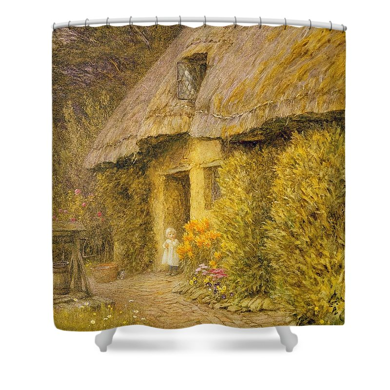 Well Shower Curtain featuring the painting A Child At The Doorway Of A Thatched Cottage by Helen Allingham
