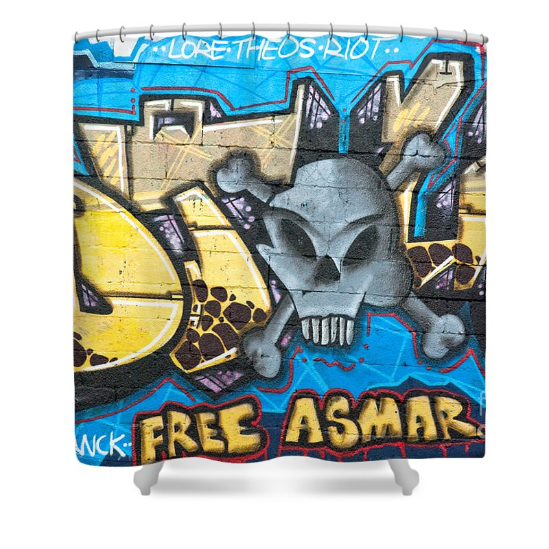 Abstract Shower Curtain featuring the painting Abstract Permission Graffiti Wall by Yurix Sardinelly