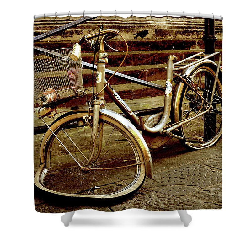 Bike Shower Curtain Featuring The Photograph Bicycle Breakdown By La Dolce Vita