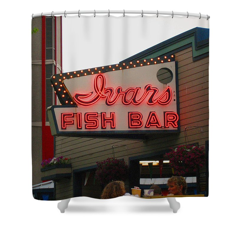 Ivars Shower Curtain Featuring The Photograph Iconic Fish Bar Neon By Kym Backland