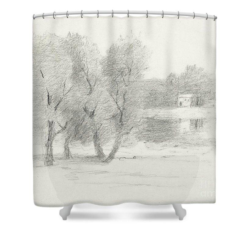 Landscape Shower Curtain Featuring The Drawing