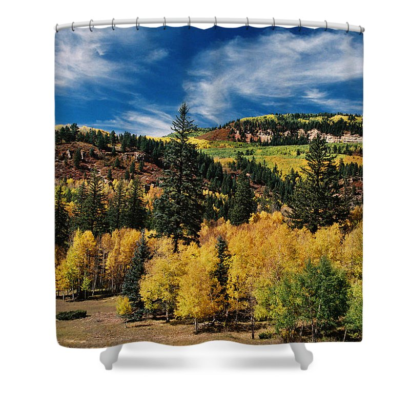 Chama Shower Curtain featuring the photograph Patchwork by Ron Weathers