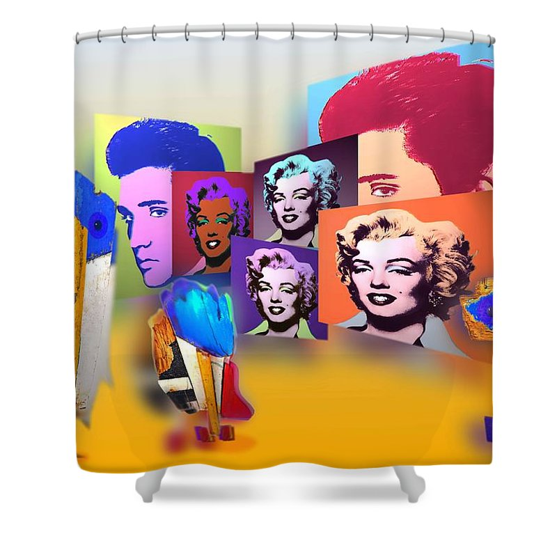 Marilyn Shower Curtain featuring the painting Pop Art Pop Up by Charles Stuart