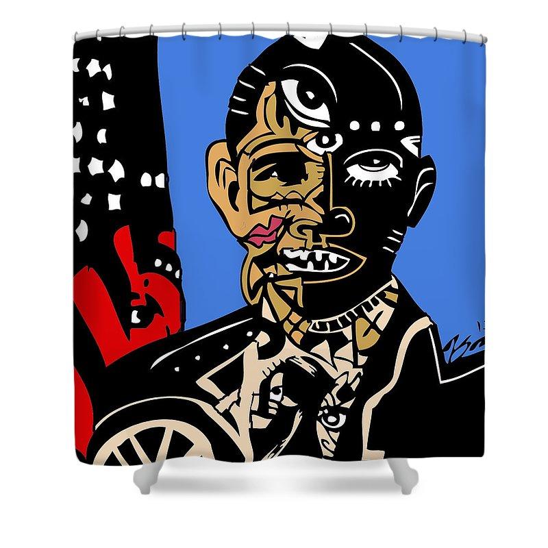 Usa Shower Curtain featuring the digital art President Barack-obama Full Color by Kamoni Khem