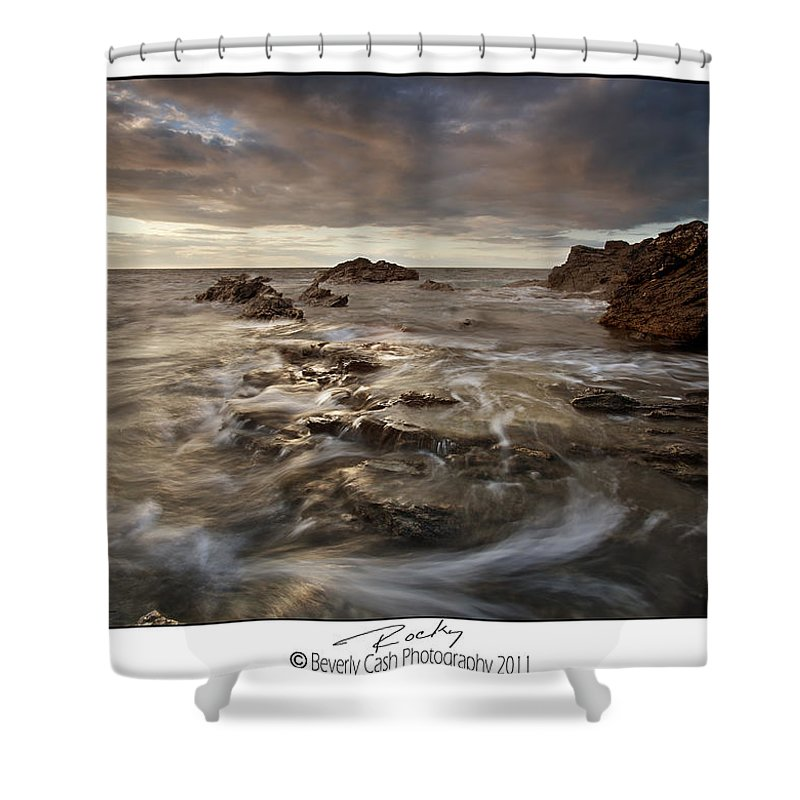 Seascape Shower Curtain featuring the photograph Rocky - At Trearddur Bay by Beverly Cash