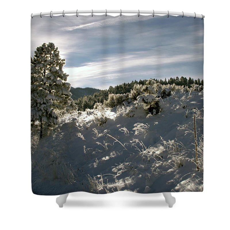 Eagle Nest Shower Curtain featuring the photograph Sunrise On Frosted Hill by Ron Weathers
